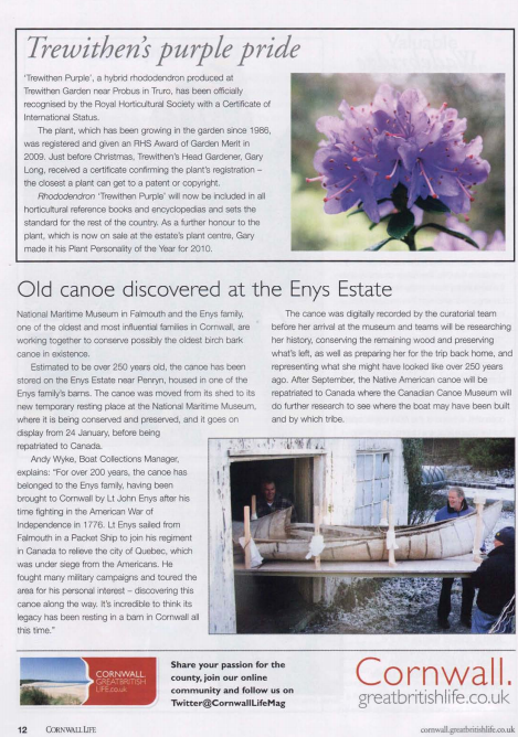 Article from Cornwall Life Feb 2011